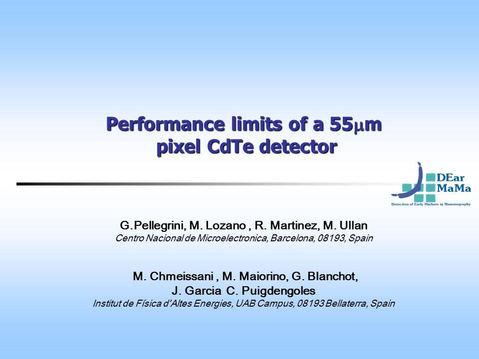 Performance limits of a 55  m pixel CdTe detector G.Pellegrini, M.