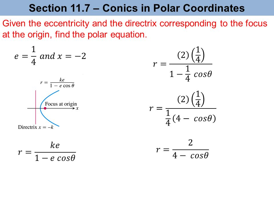 Section 11.7 – Conics in Polar Coordinates Given the eccentricity and the directrix corresponding to the focus at the origin, find the polar equation.