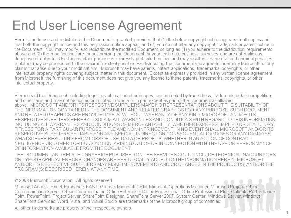 End user license agreement permission to use and redistribute this end user license agreement permission to use and redistribute this document is granted provided that platinumwayz