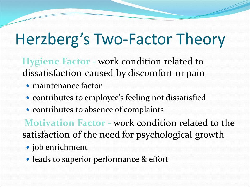 Herzberg's Two-Factor Theory Hygiene Factor - work condition related to dissatisfaction caused by discomfort or pain maintenance factor contributes to employee's feeling not dissatisfied contributes to absence of complaints Motivation Factor - work condition related to the satisfaction of the need for psychological growth job enrichment leads to superior performance & effort