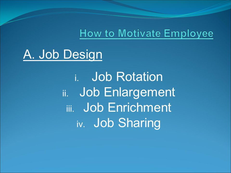 A. Job Design i. Job Rotation ii. Job Enlargement iii. Job Enrichment iv. Job Sharing