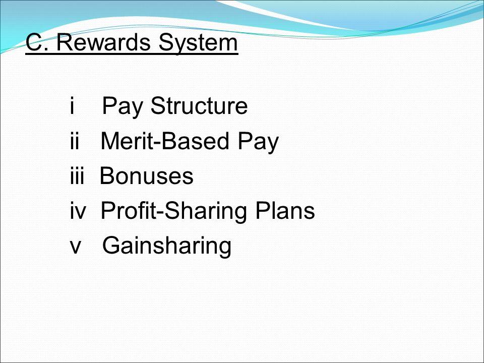 C. Rewards System i Pay Structure ii Merit-Based Pay iii Bonuses iv Profit-Sharing Plans v Gainsharing