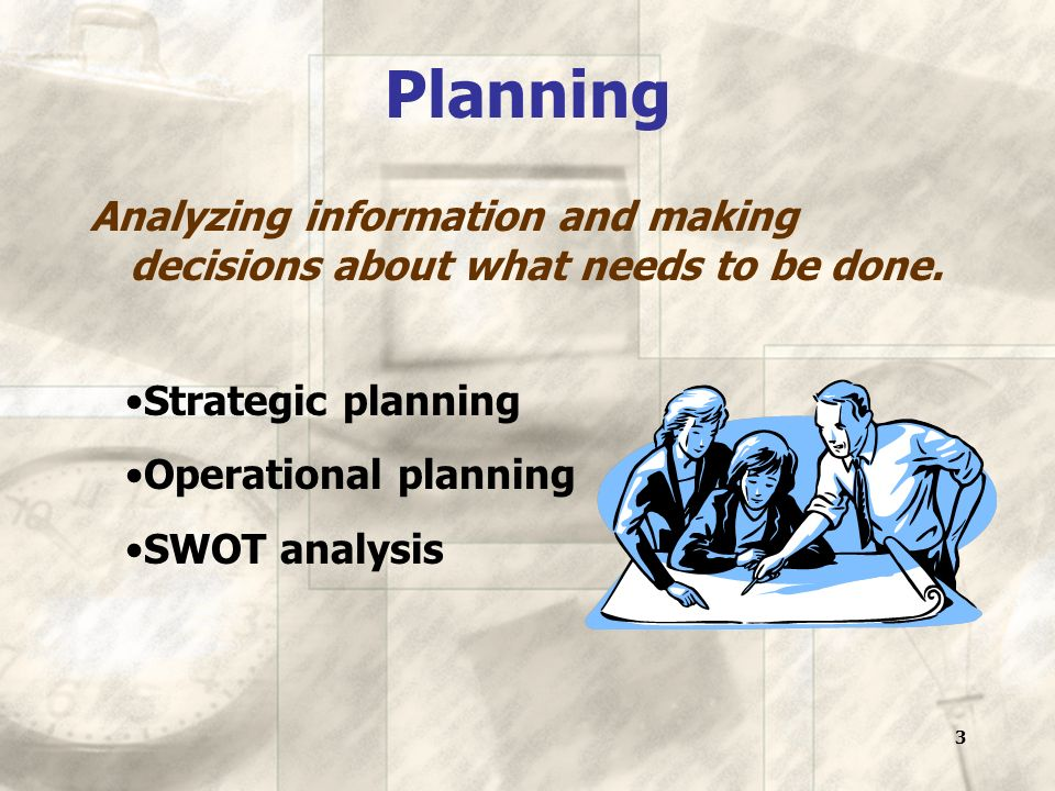 3 Planning Analyzing information and making decisions about what needs to be done.