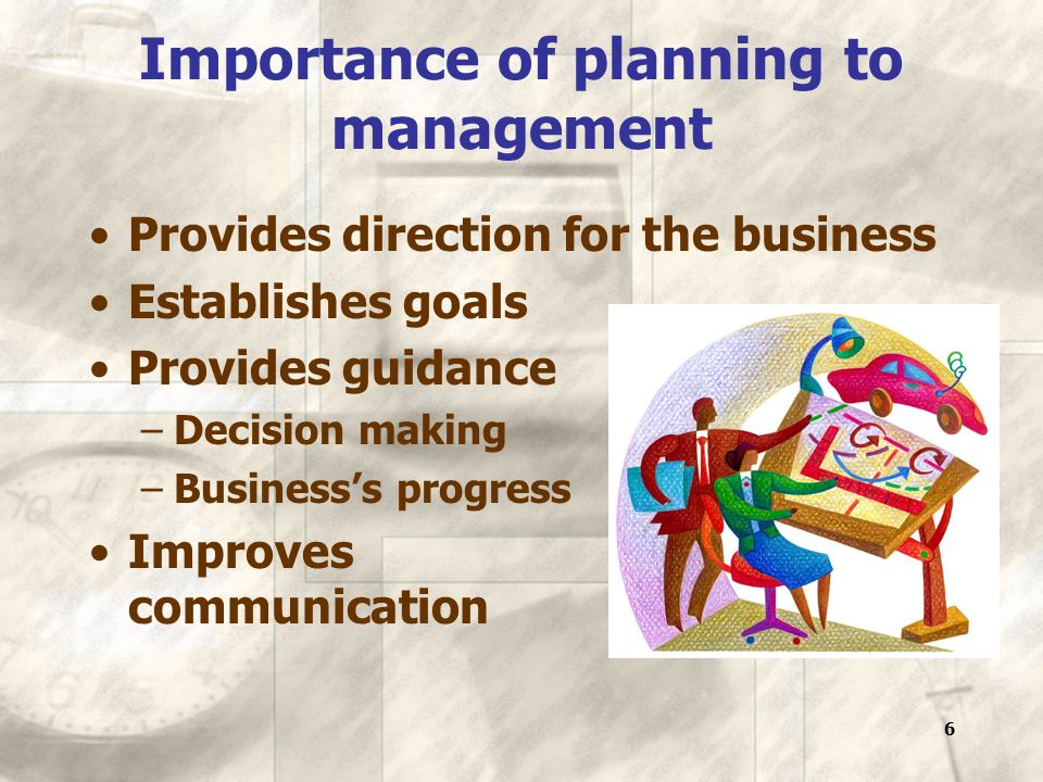 6 Importance of planning to management Provides direction for the business Establishes goals Provides guidance –Decision making –Business's progress Improves communication