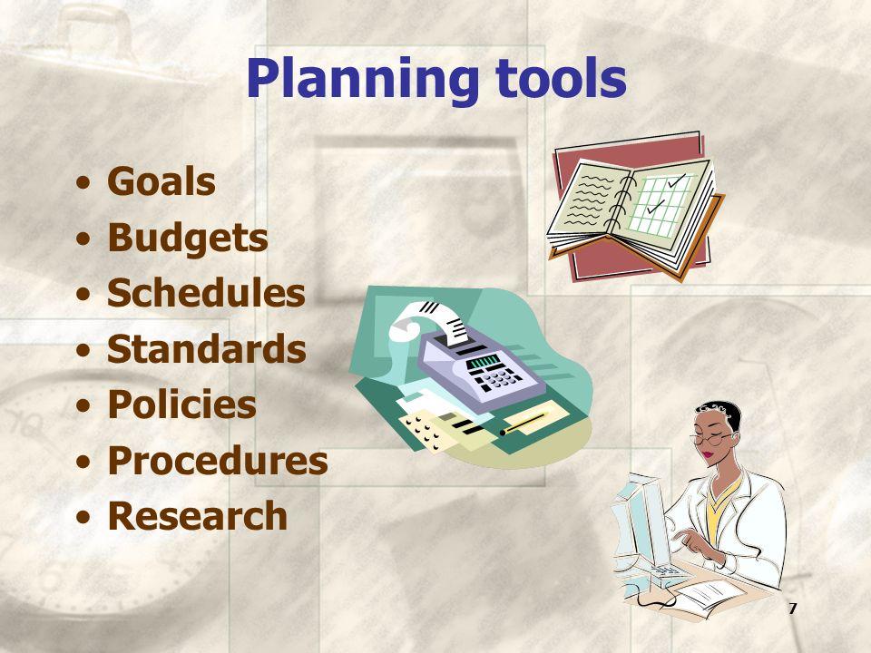 7 Planning tools Goals Budgets Schedules Standards Policies Procedures Research