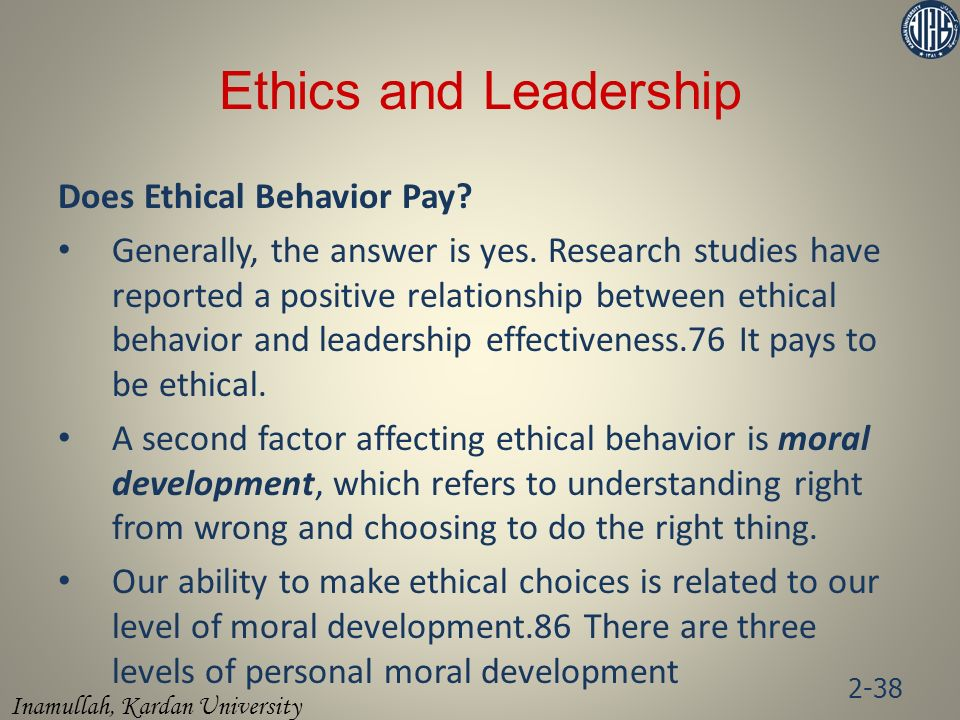 Inamullah, Kardan University Ethics and Leadership Does Ethical Behavior Pay.