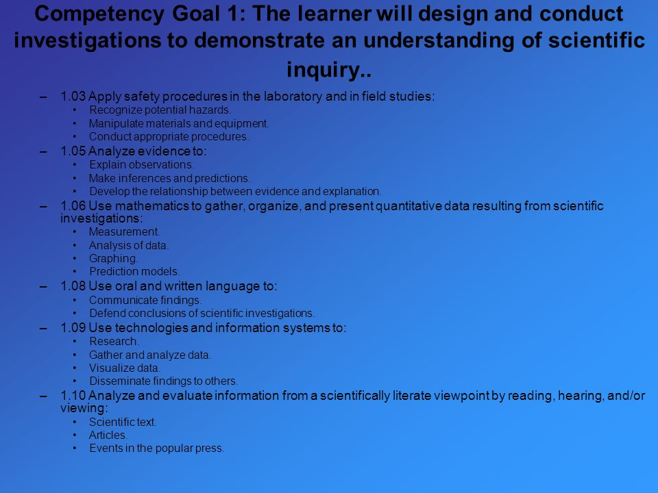 Competency Goal 1: The learner will design and conduct investigations to demonstrate an understanding of scientific inquiry..