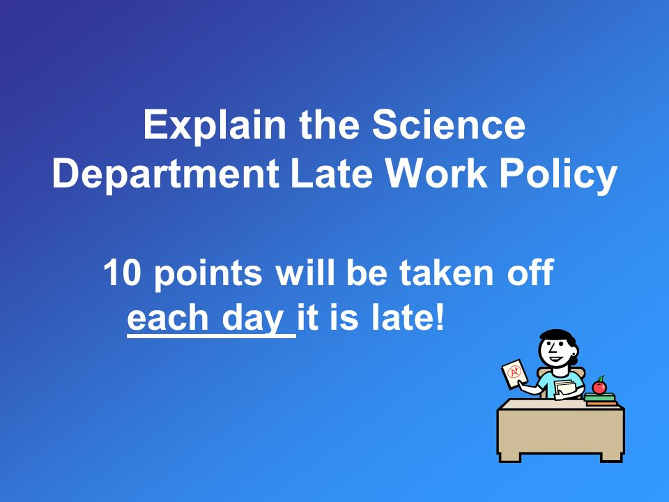10 points will be taken off each day it is late!