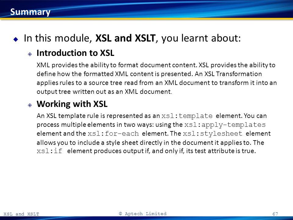 xsl and xslt 06 xsl and xslt a aptech limited introduction to xsl
