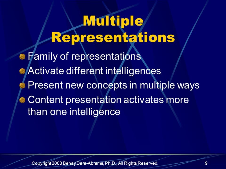 Copyright 2003 Benay Dara-Abrams, Ph.D., All Rights Reserved.9 Multiple Representations Family of representations Activate different intelligences Present new concepts in multiple ways Content presentation activates more than one intelligence