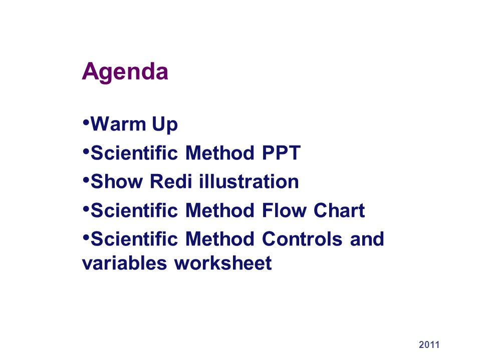 Agenda Warm Up Scientific Method PPT Show Redi illustration – Scientific Method Variables Worksheet