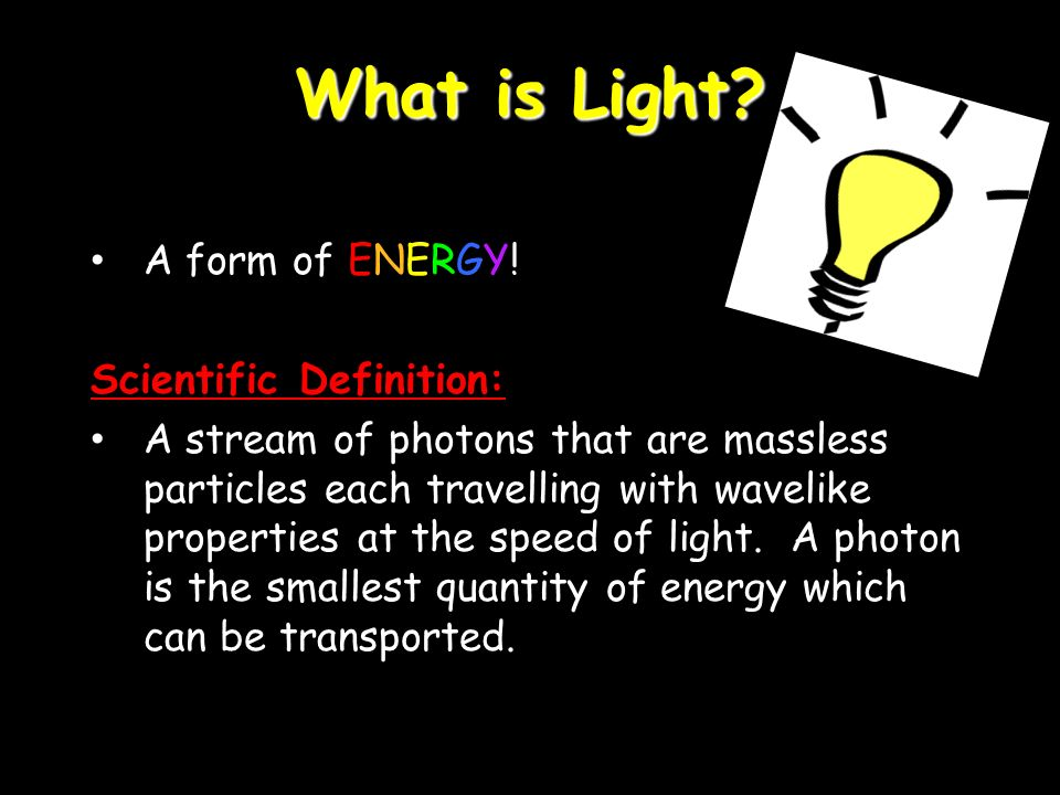 What is Light. A form of ENERGY.