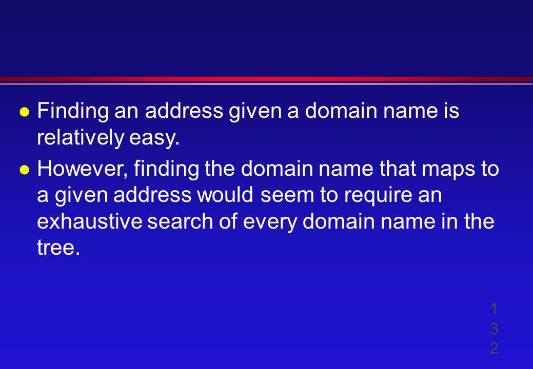 l Finding an address given a domain name is relatively easy.