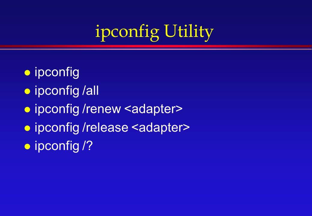 ipconfig Utility l ipconfig l ipconfig /all l ipconfig /renew l ipconfig /release l ipconfig /