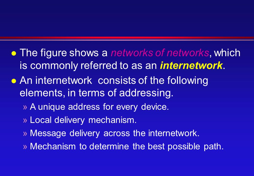 l The figure shows a networks of networks, which is commonly referred to as an internetwork.