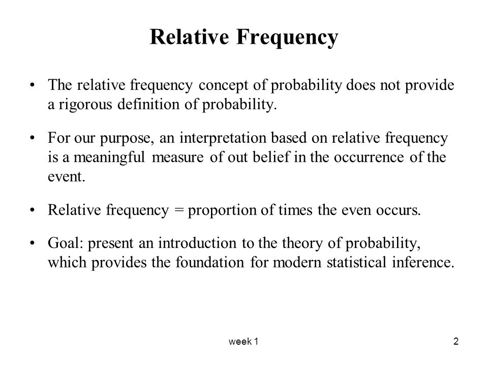week 12 Relative Frequency The relative frequency concept of probability does not provide a rigorous definition of probability.