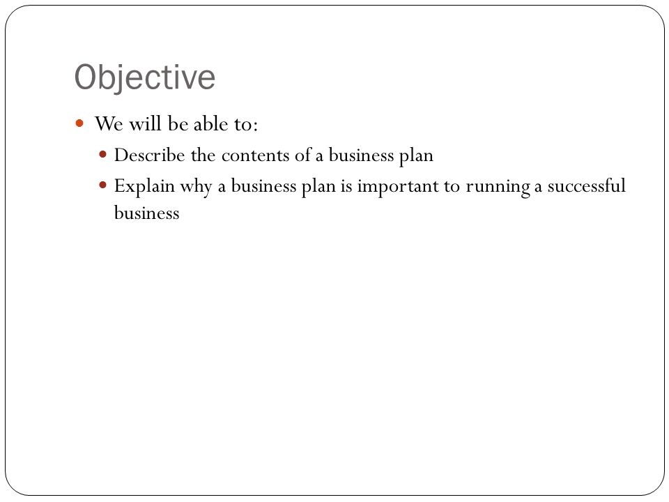 What are the contents of a business plan