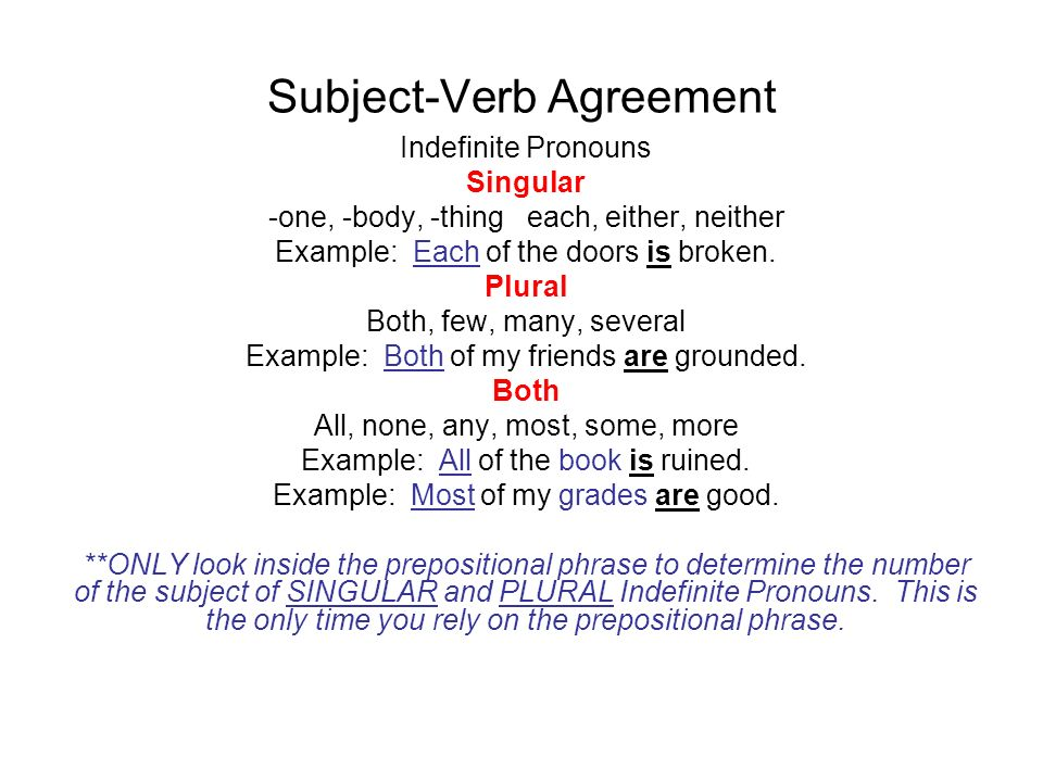 Subject verb agreement agreement in number subjects and their verbs subject verb agreement indefinite pronouns singular one body thing each platinumwayz