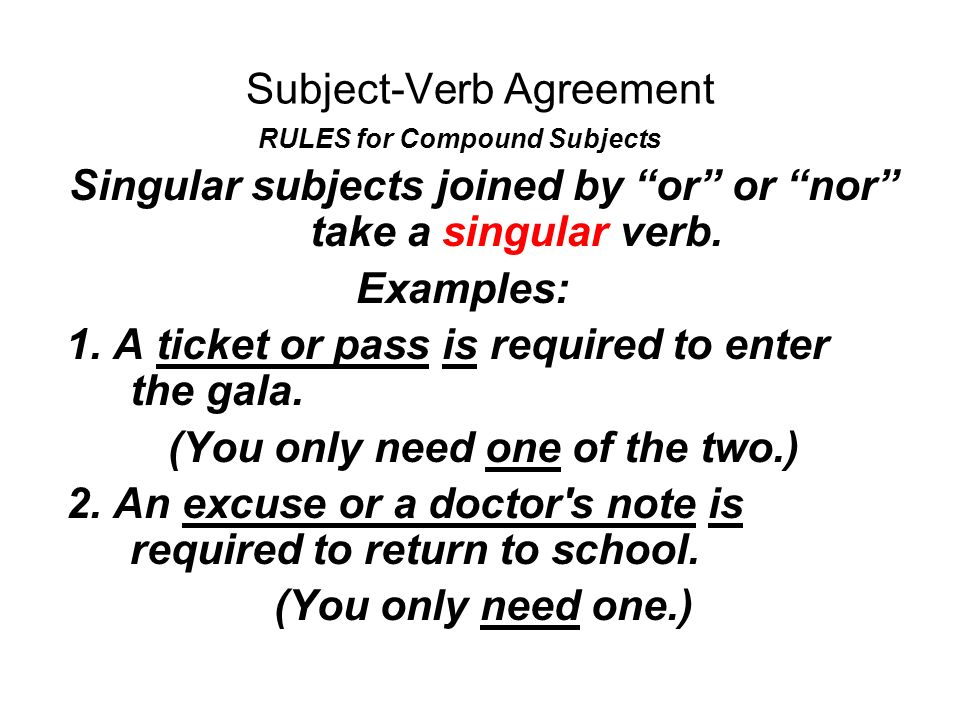 Subject verb agreement agreement in number subjects and their verbs 9 subject verb agreement rules for compound subjects singular subjects joined by platinumwayz