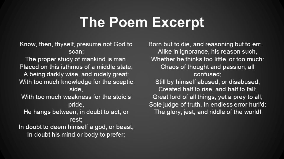 Exceptional The Poem Excerpt Know, Then, Thyself, Presume Not God To Scan; The
