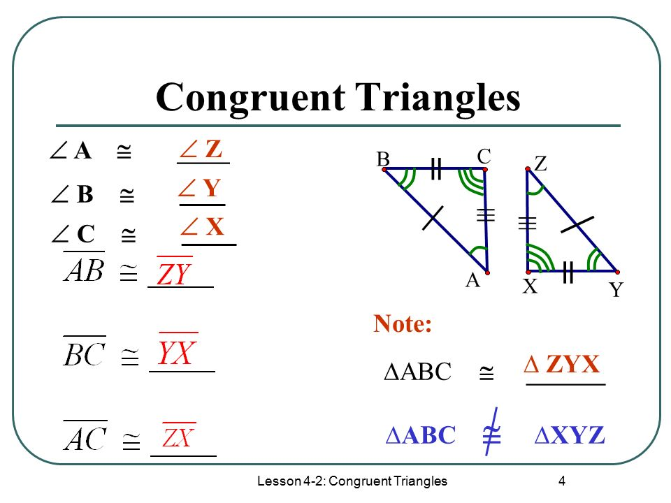 Lesson 4-2: Congruent Triangles 4 Congruent Triangles B A C X Y Z ≡ ≡ = = │ │ ∆ABC  ______  A  ____  Z  B  _____  C  ______  Y  X ∆ ZYX ∆ABC  ∆XYZ Note: