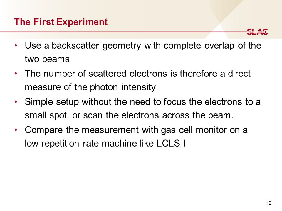 12 The First Experiment Use a backscatter geometry with complete overlap of the two beams The number of scattered electrons is therefore a direct measure of the photon intensity Simple setup without the need to focus the electrons to a small spot, or scan the electrons across the beam.