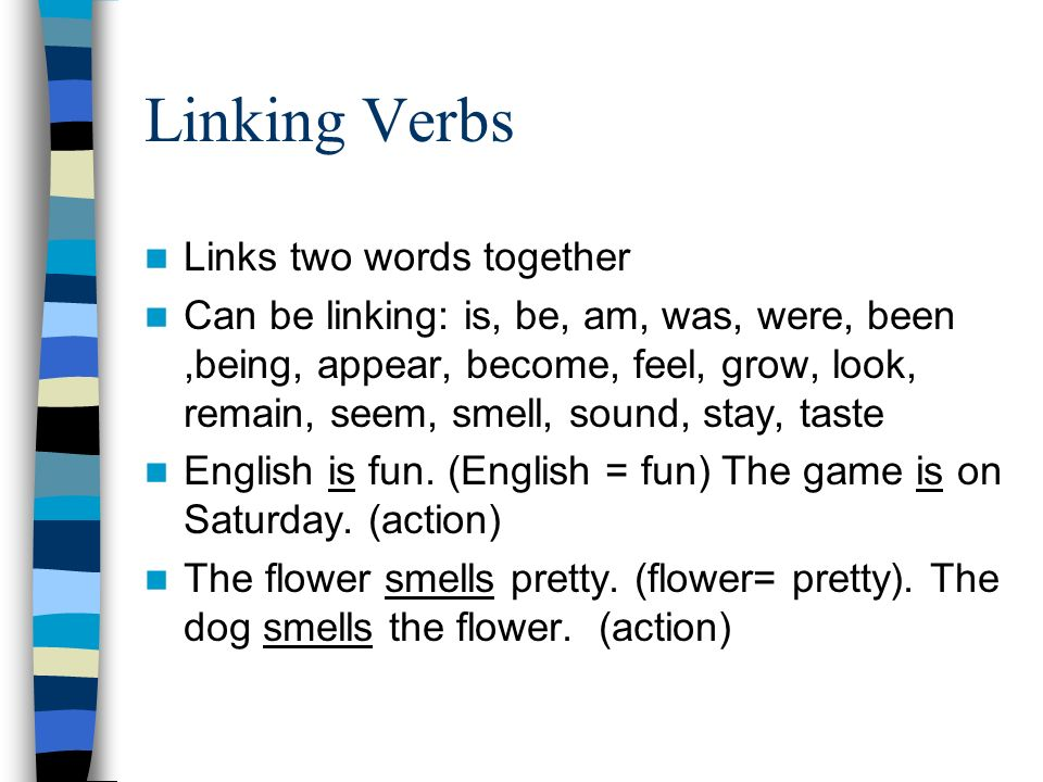 Linking Verbs Links two words together Can be linking: is, be, am, was, were, been,being, appear, become, feel, grow, look, remain, seem, smell, sound, stay, taste English is fun.