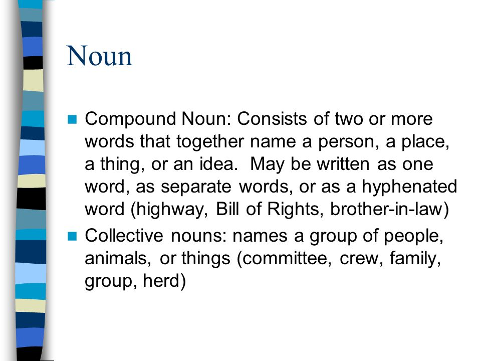 Noun Compound Noun: Consists of two or more words that together name a person, a place, a thing, or an idea.