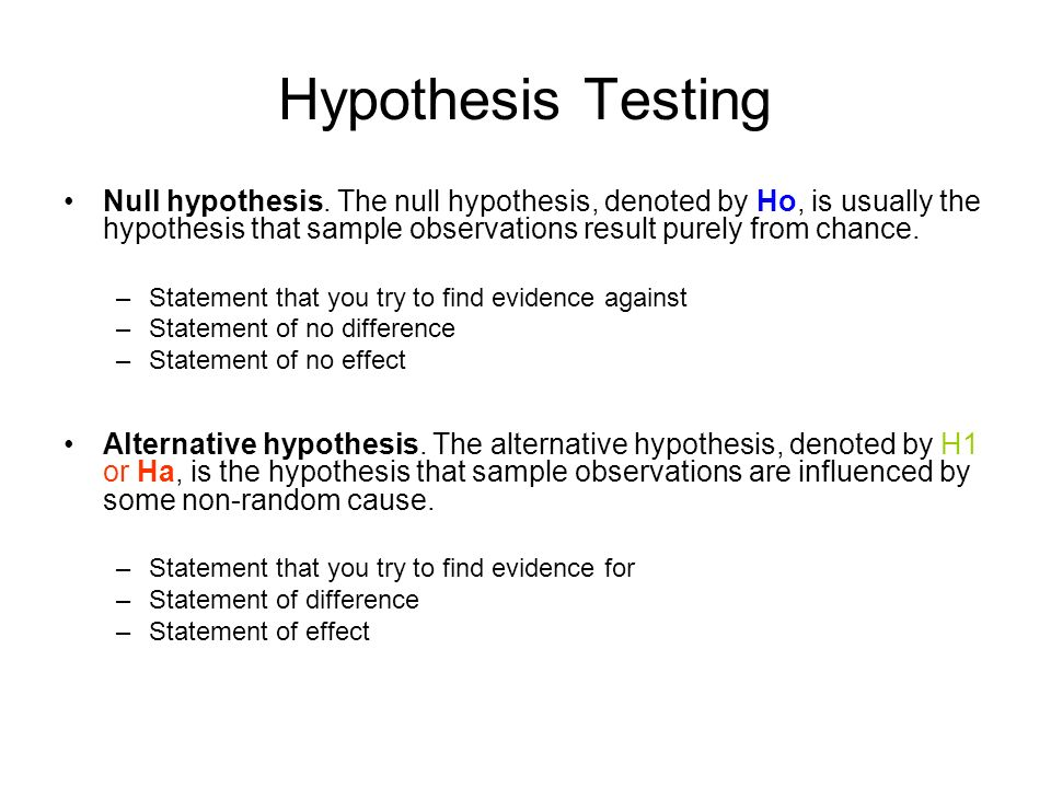 Hypothesis Testing State the hypotheses. Formulate an analysis ...