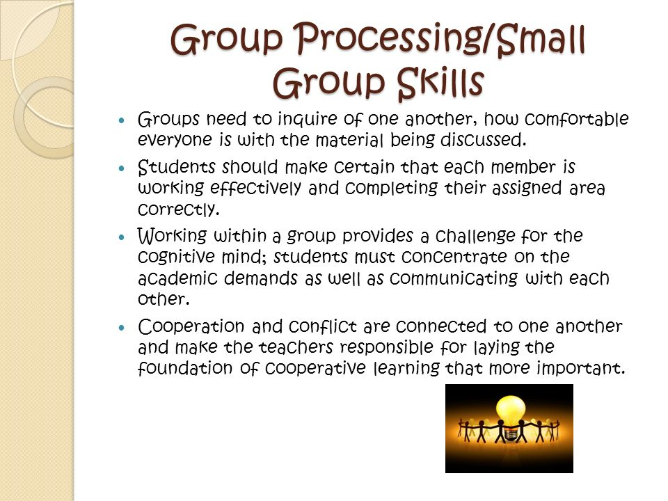 Cooperative Learning Is/Involves… Individual accountability Teaches social skills Trust building Increases engaged learning Structured Specific roles/jobs Heads together Collaborative Encouragnig