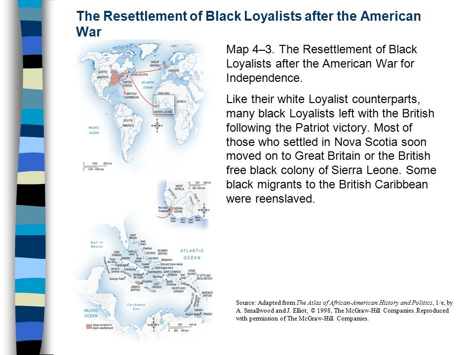 Rising Expectations African Americans And The Struggle For - Map of loyalists leaving us