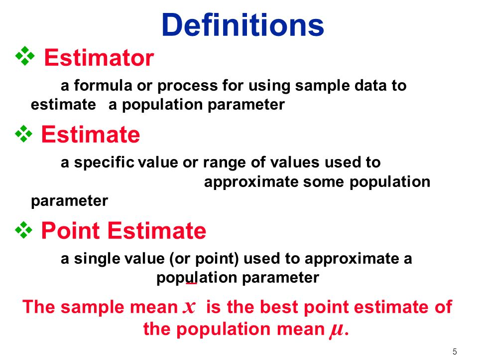 1 Chapter 6 Estimates and Sample Sizes 6-1 Estimating a Population ...
