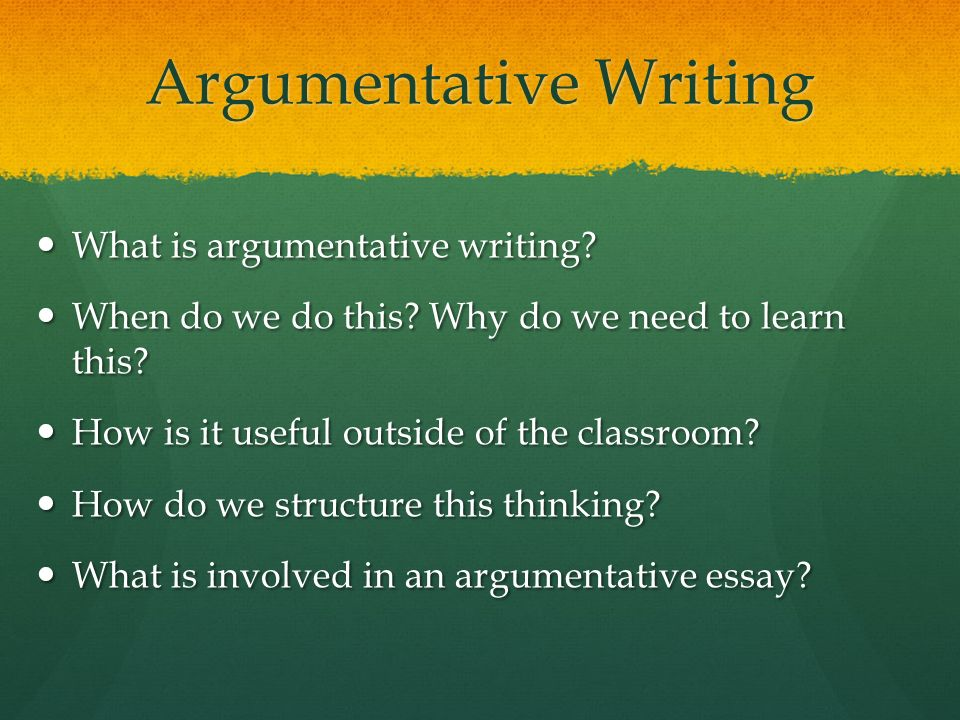 format for writing an argumentative essay Creating an argument outline although there is no set model of organization for argumentative essays, there are some common patterns that writers might use or that writers might want to combine/customize in an effective way.