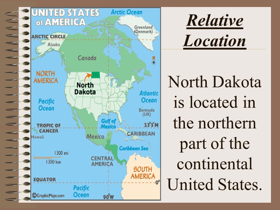 The basics of geography part 1 the 5 themes of geography ppt 5 relative location north dakota is located in the northern part of the continental united states sciox Choice Image