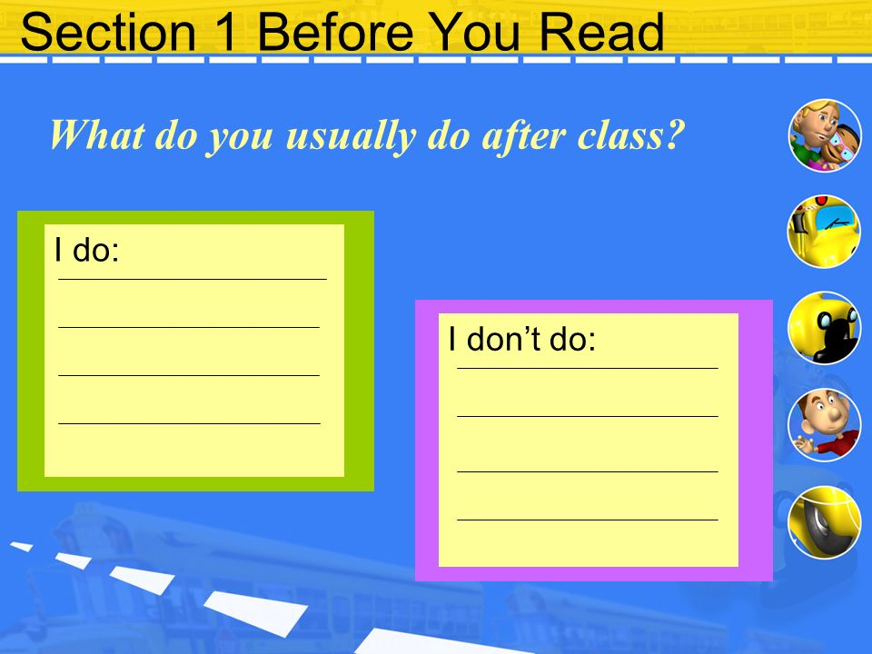 Section 1 Before You Read What do you usually do after class? I do: I don't do:
