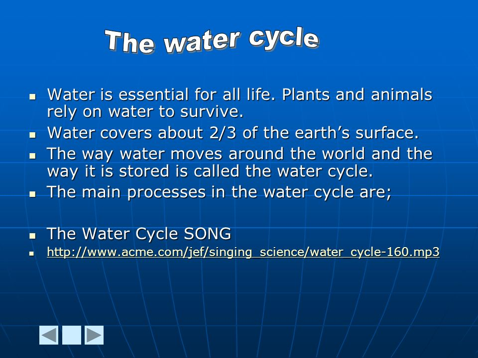 Water is essential for all life. Plants and animals rely on water to survive.
