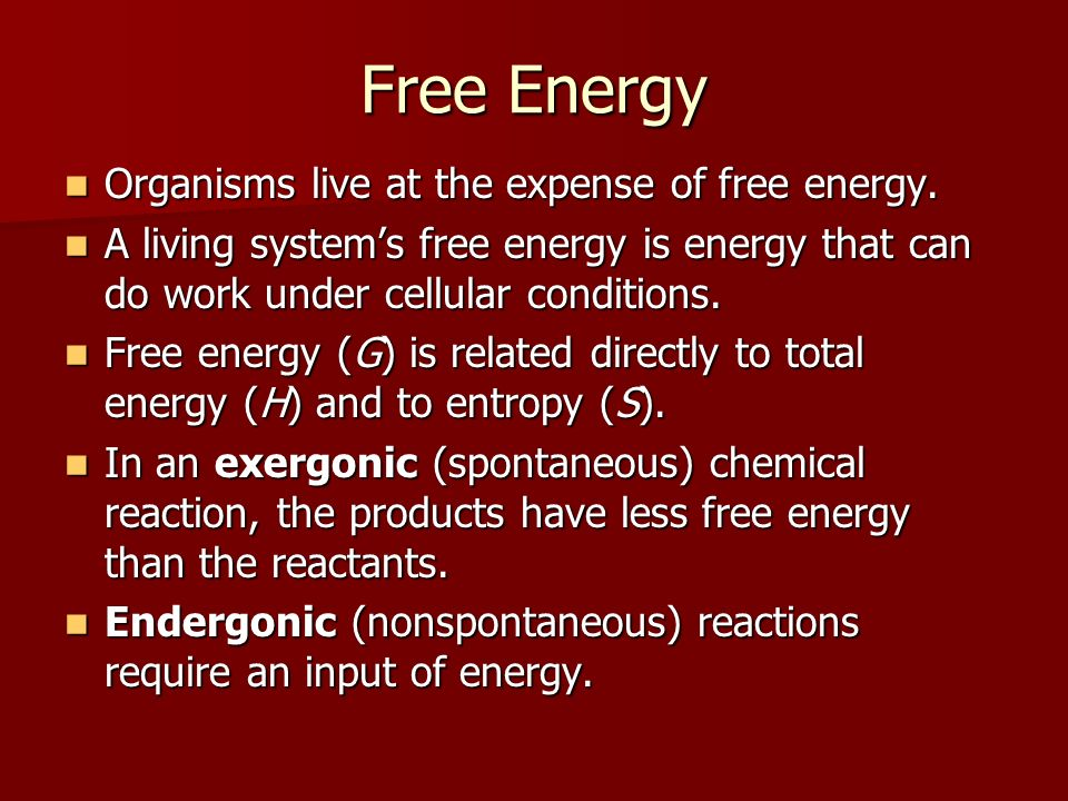 Free Energy Organisms live at the expense of free energy.