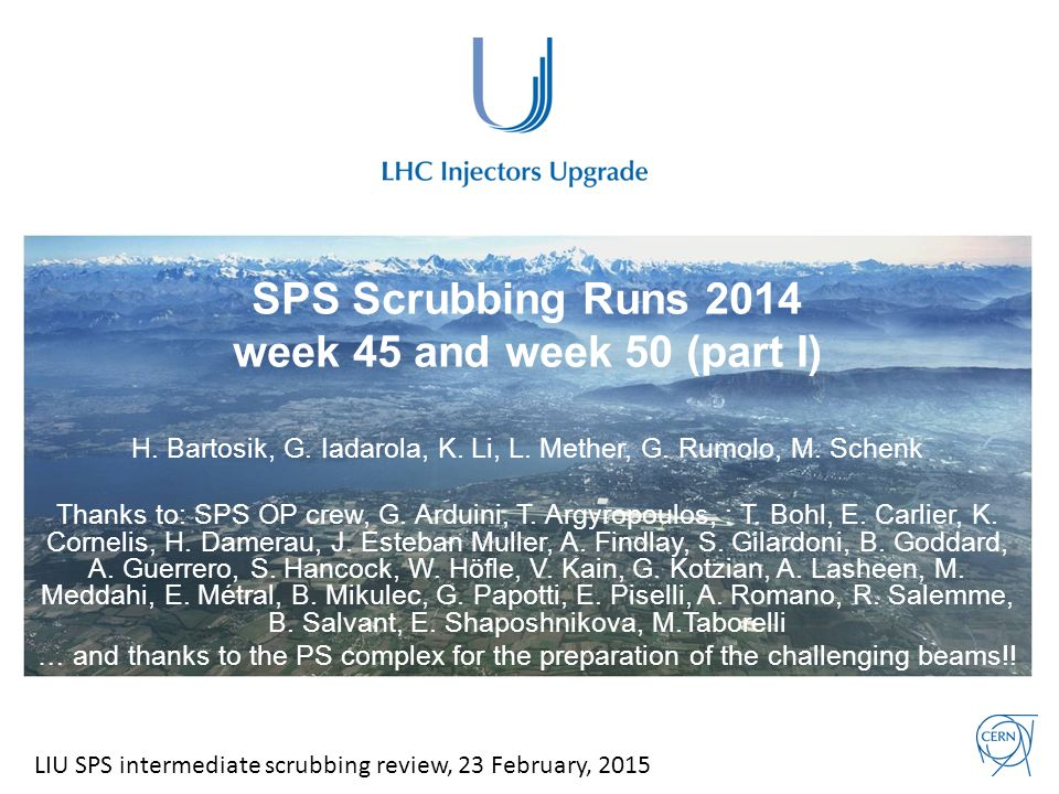 SPS Scrubbing Runs 2014 week 45 and week 50 (part I) H.