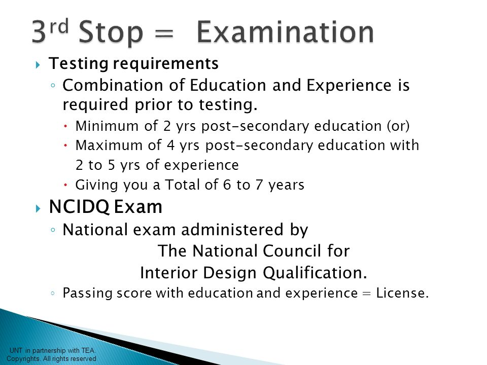 Testing Requirements O Combination Of Education And Experience Is Required Prior To