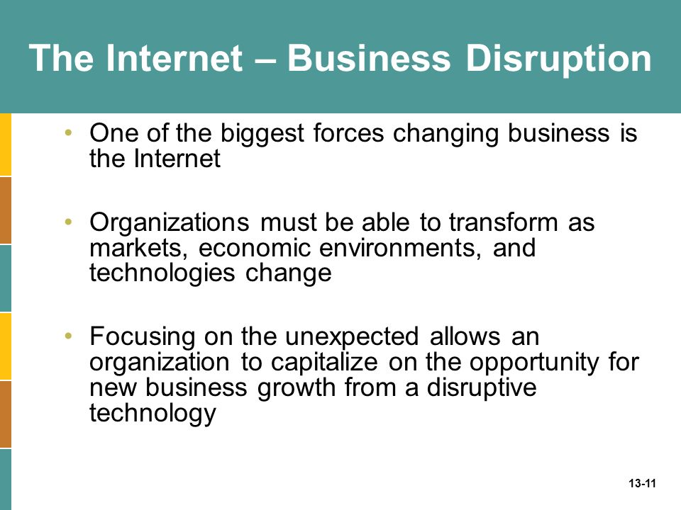 13-11 The Internet – Business Disruption One of the biggest forces changing business is the Internet Organizations must be able to transform as market