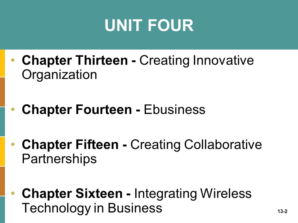 13-2 UNIT FOUR Chapter Thirteen - Creating Innovative Organization Chapter Fourteen - Ebusiness Chapter Fifteen - Creating Collaborative Partnerships