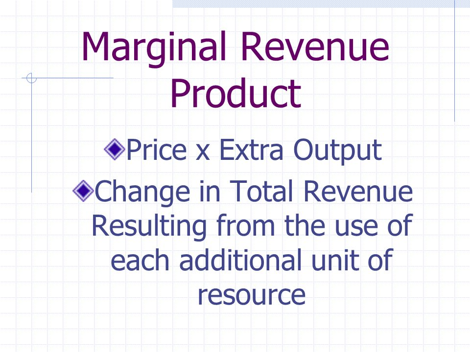 Marginal Revenue Product Price x Extra Output Change in Total Revenue Resulting from the use of each additional unit of resource