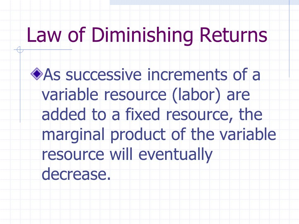 Law of Diminishing Returns As successive increments of a variable resource (labor) are added to a fixed resource, the marginal product of the variable resource will eventually decrease.