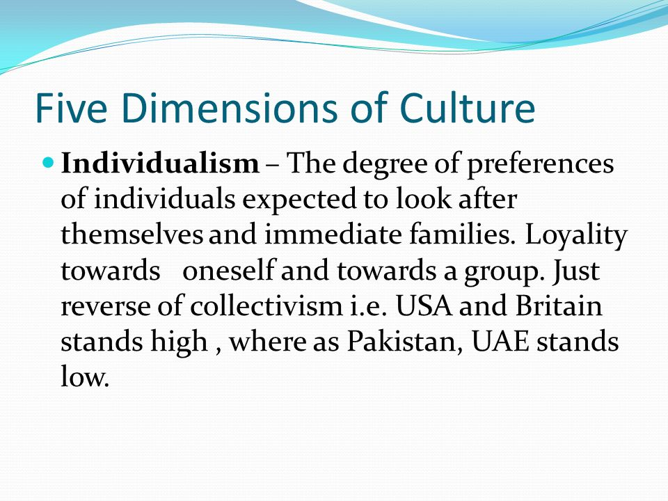 Five Dimensions of Culture Individualism – The degree of preferences of individuals expected to look after themselves and immediate families. Loyality