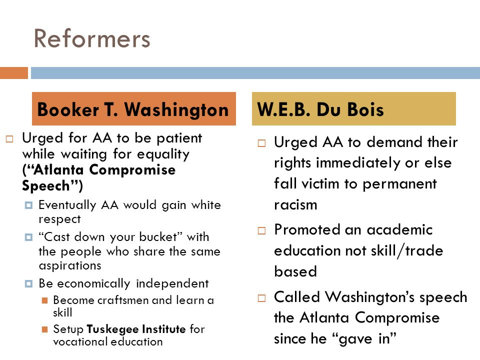 Reformers  Urged for AA to be patient while waiting for equality ( Atlanta Compromise Speech )  Eventually AA would gain white respect  Cast down your bucket with the people who share the same aspirations  Be economically independent Become craftsmen and learn a skill Setup Tuskegee Institute for vocational education  Urged AA to demand their rights immediately or else fall victim to permanent racism  Promoted an academic education not skill/trade based  Called Washington's speech the Atlanta Compromise since he gave in Booker T.
