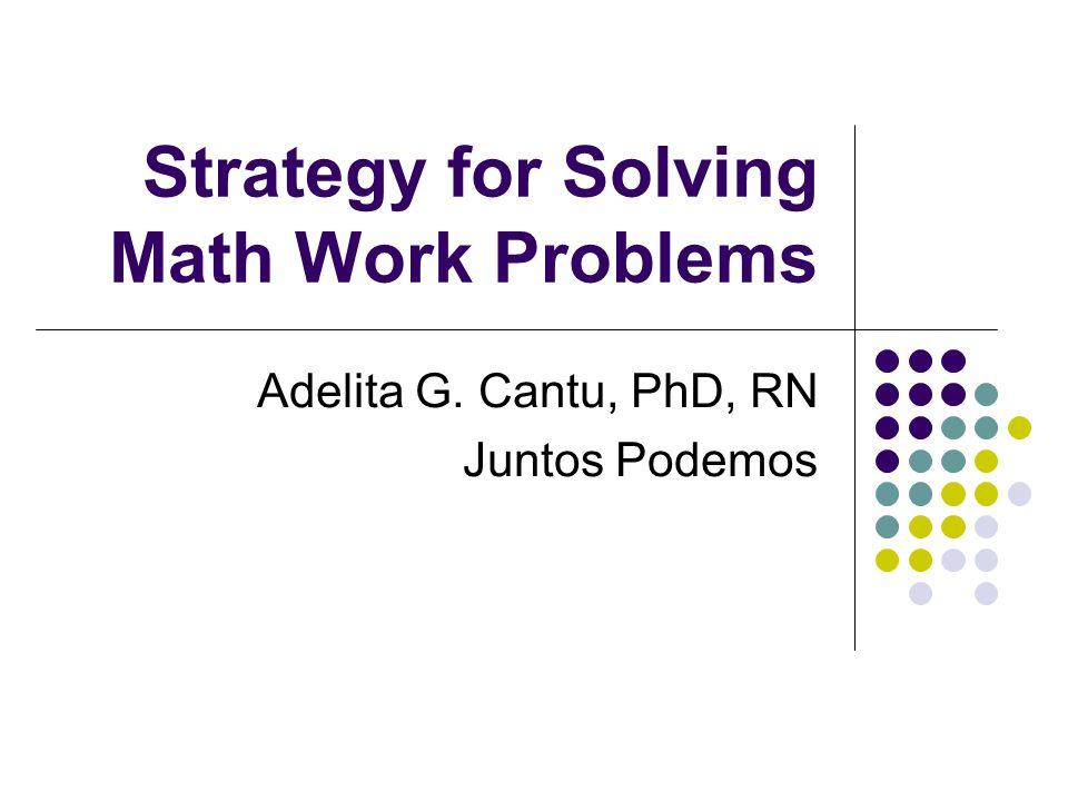 Strategy For Problem Solving