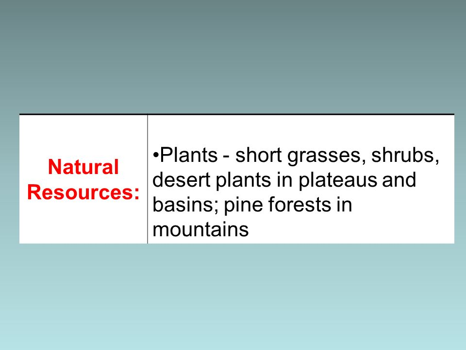 Natural Resources: Plants - short grasses, shrubs, desert plants in plateaus and basins; pine forests in mountains