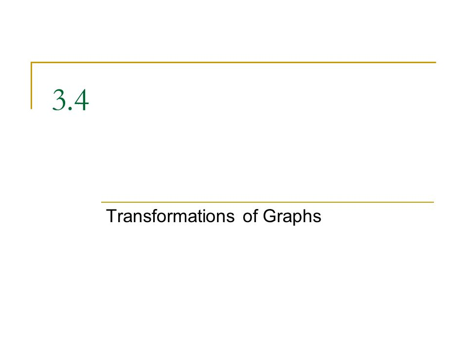 3.4 Transformations of Graphs
