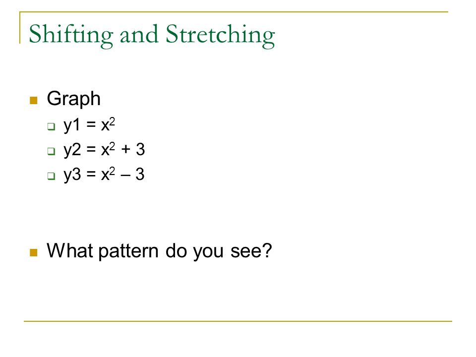 Shifting and Stretching Graph  y1 = x 2  y2 = x  y3 = x 2 – 3 What pattern do you see