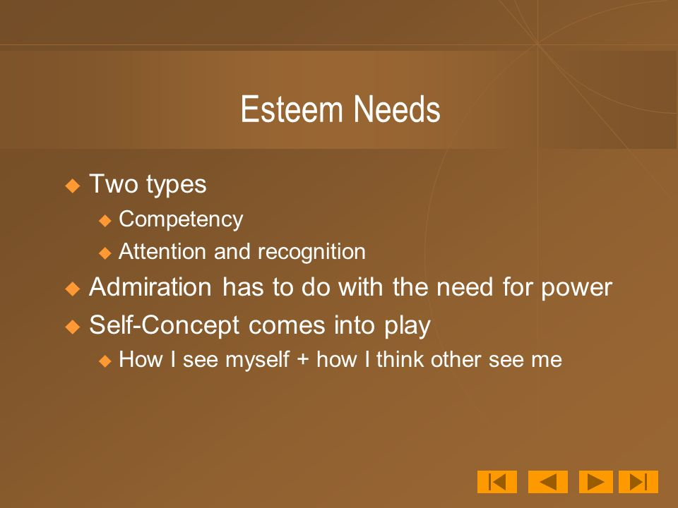 Esteem Needs  Two types u Competency u Attention and recognition  Admiration has to do with the need for power  Self-Concept comes into play u How